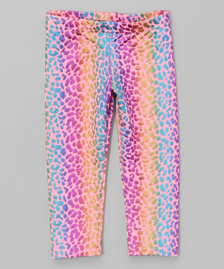 Pink & Aqua Cheetah Leggings - Toddler & Girls