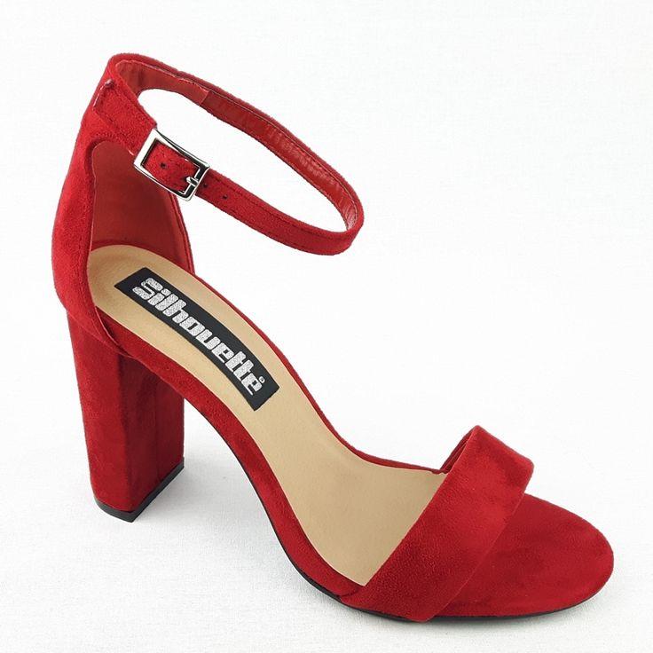 Simpele rode sandaaltjes met een smal bandje voor en een brede hak shop je bij jouw favoriete online schoenenwinkel met alleen maar hoge hakken.