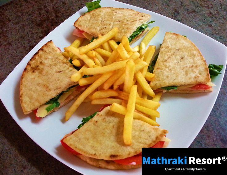 Our special Club Sandwich 'Greek style'. #Club #Sandwich #Pita #Mathraki #Resort #Gouvia #Corfu #Greece
