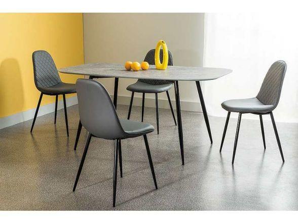 Stół LACONI jest wspaniałym stołem do jadalni. Blat stołu wykonany jest z płyty MDF w okleinie o barwie szarego kamienia, a metalowe nóżki zrobiono ze stali malowanej na kolor czarny.