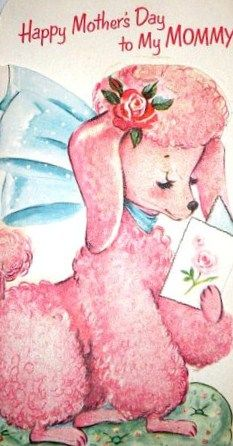 Vintage Poodle Card... my Mum had 2 poodles, she loved them