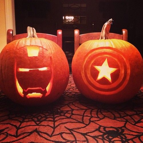 jillianleedy:  My brother, Brandon, and I carved Avengers pumpkins! I did Captain America and he did Iron Man.