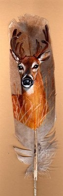 Deer - Painted Feather by Karin Taylor