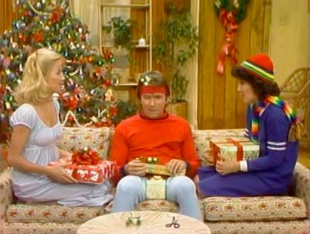 """On """"Three's Company"""", Jack, Janet and Chrissy agree to go to the Ropers when they find they weren't invited to a Christmas party, but when the invitation comes, they can't find a way out of it.  """"Three's Christmas"""" originally aired on December 20th., 1977."""