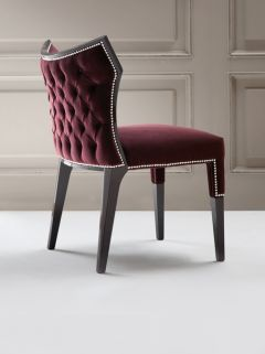 Chair ~ Luxurious studded velvet wing chair with tufted back shown here in a deep burgundy velvet with intricate stud detail with either a high gloss or matt lacquered frame. Perfect for the dining area or as a side chair for extra seating.