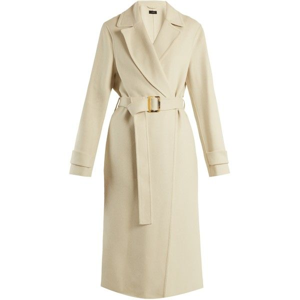 Joseph Dale peak-lapel cashmere-blend trench coat ($1,595) ❤ liked on Polyvore featuring outerwear, coats, cream, joseph's coat, lightweight trench coat, cardigan shrug, lightweight coat and cream shrug