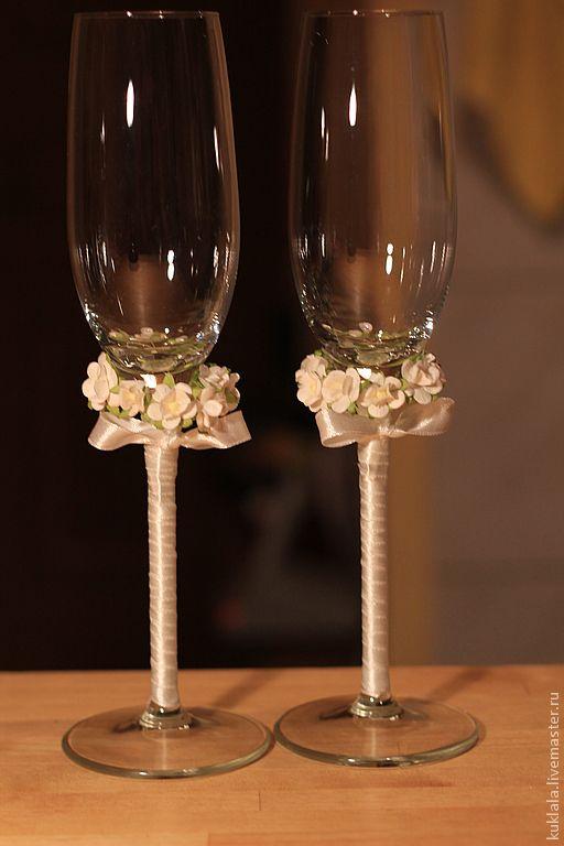 """Купить Свадебные бокалы """"Лютик"""" - Бокалы, свадебные бокалы, бумажные цветы, ленты, ручная работа"""