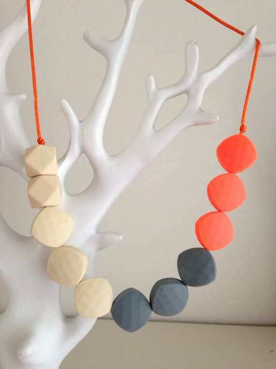 Silicone Teething Necklace. BPA Free Food Grade by UpTheGardenPath