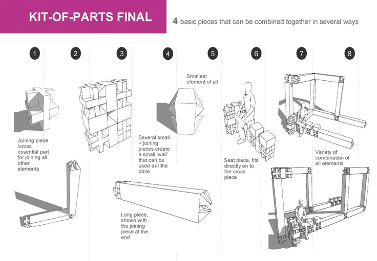 Architecture Design Kit kit of parts - design of the common room for students of