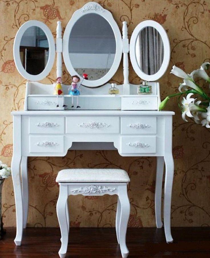 XXL Schminktisch + 3 Spiegel Frisierkommode Frisiertisch Kosmetiktisch Hocker 1   | eBay