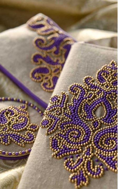 Zenza, bead embroidery in purple and gold. Loveliness.