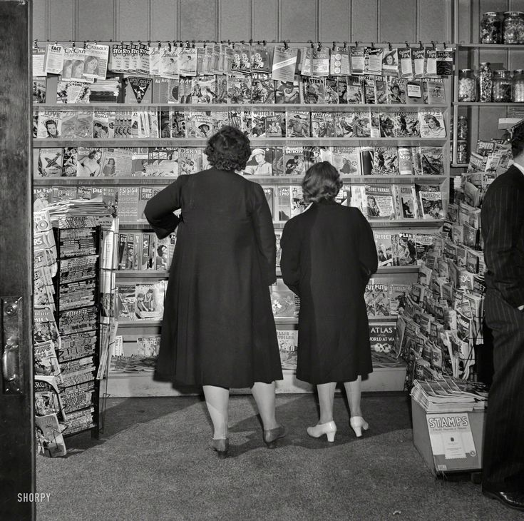 """May 1942. """"Southington, Connecticut. Where Southington folk buy their magazines."""" Photo by Fenno Jacobs, Office of War Information. Shorpy Historical Photo Archive :: Read All About It: 1942"""
