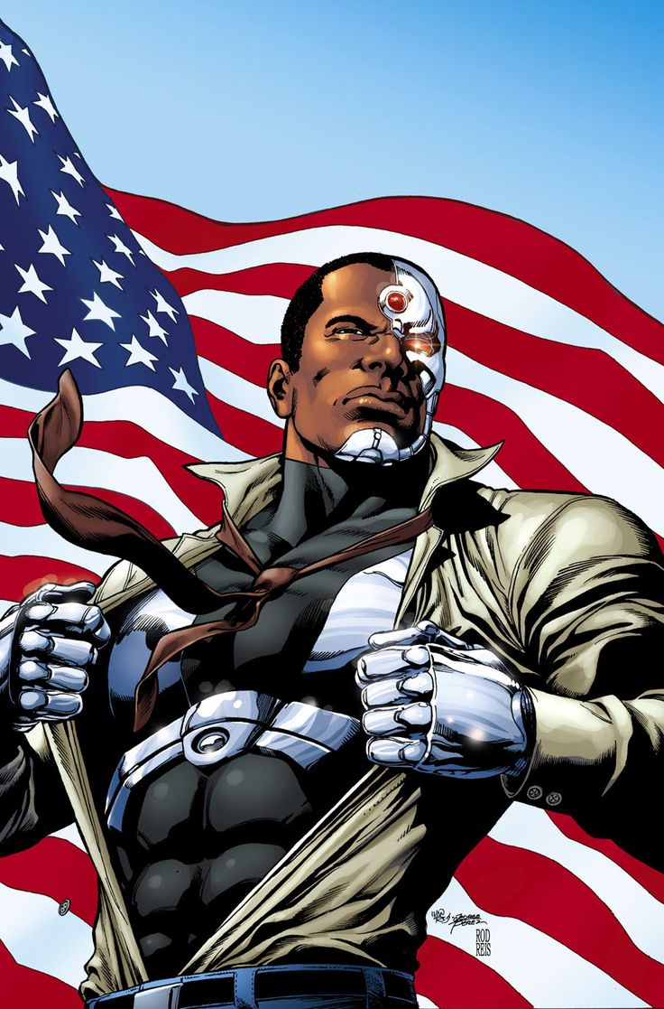 """Cyborg (Victor """"Vic"""" Stone) (Human/Mutate) (New York City, New York, U.S.A.) Student, crime-fighter. Computer interfacing. Cybernetic Enhancement. Superhuman speed, strength (can lift 5 tons) durability, stamina. Shape-Change (can reshape parts of his body into various weapons and technological equipment) Sensor Systems; optic, thermal, motion sensors. 6' 6"""" tall."""