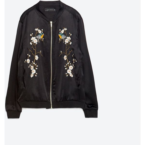 Zara Floral Embroidered Bomber Jacket ($129) ❤ liked on Polyvore featuring outerwear, jackets, black, bomber, zara, flowers, lined bomber jacket, blouson jacket, flight jacket and flight bomber jacket