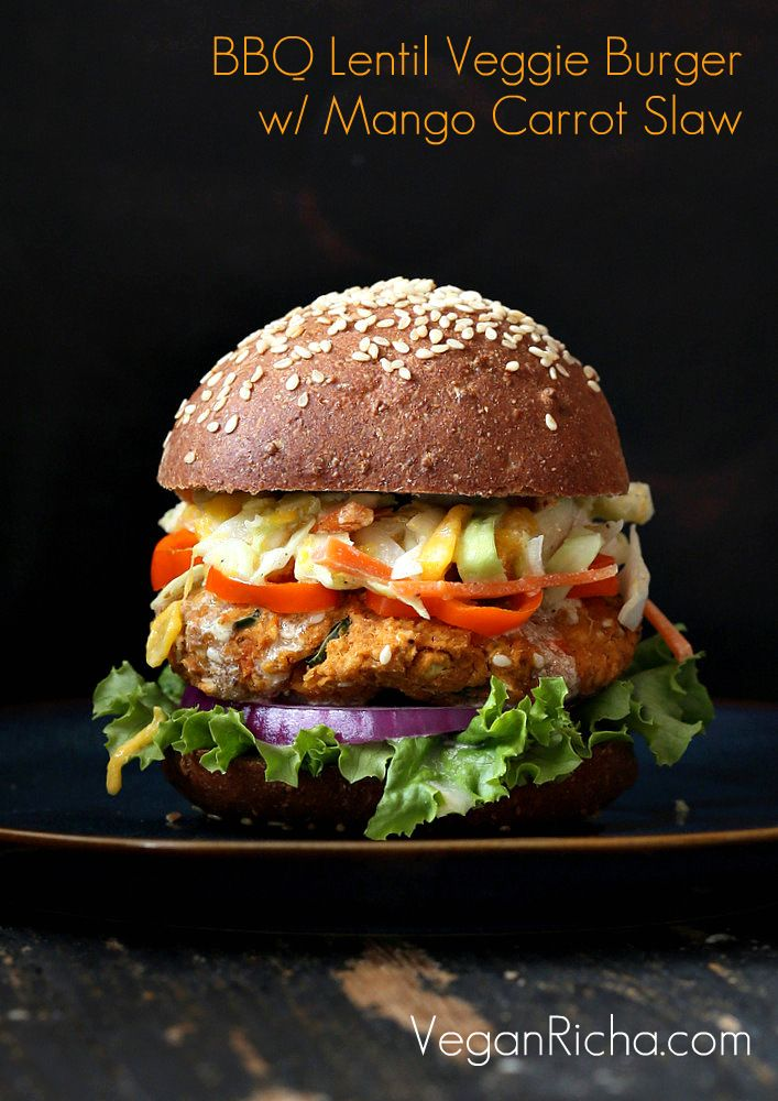 BBQ Lentil Veggie Burger with Mango Carrot Slaw. Vegan | Recipe ...