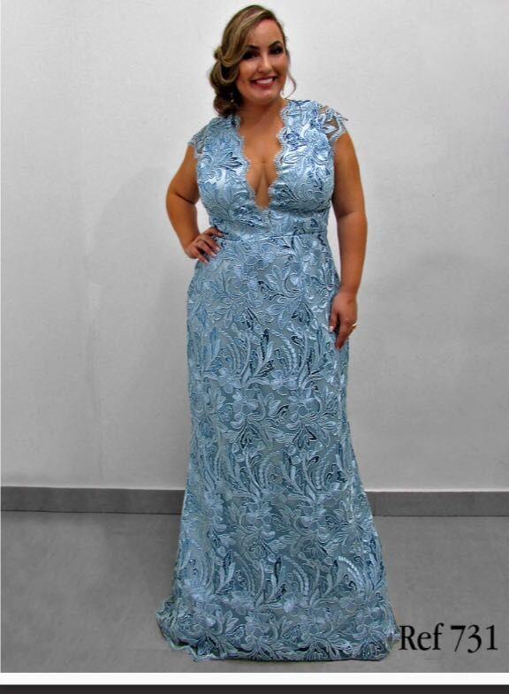 Vestido De Festa Plus Size Azul Com Semi Manguinha Vestido