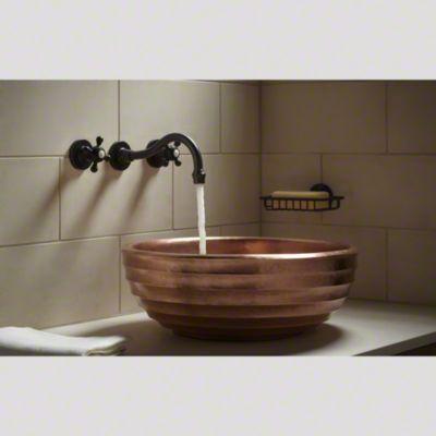 kallista hampstead wall mount faucet and hampstead wall mount soap shelf with wavelet pedestal sink