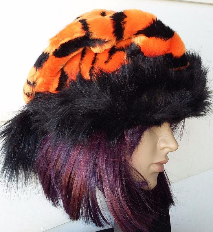 Tiger Santa hat, Tigger Santa hat, Orange and black Santa hat by OriginalsByEva on Etsy