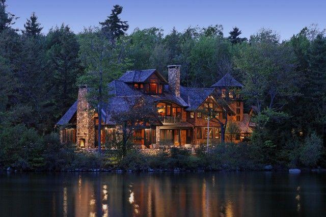 Log cabin on the lake