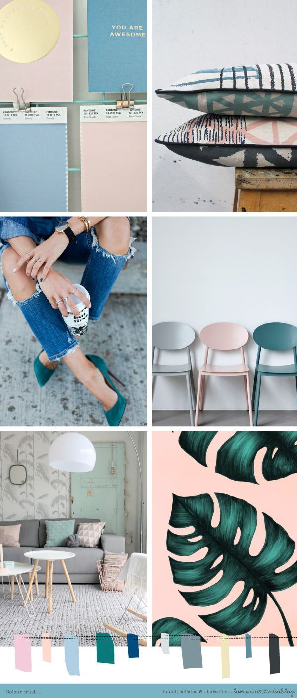 Loving this combo of soft pinks and blues with grey and teal tones... (image credits clockwise from top left) 1 | 2 | 3 | 4 ... mood board, color palette