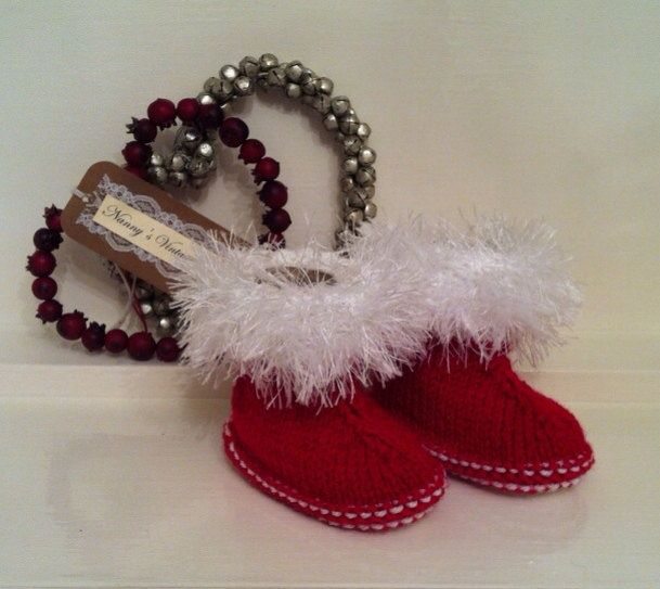 Cute red christmas boots with white fur trim! From Nanny's Vintage Knit!!