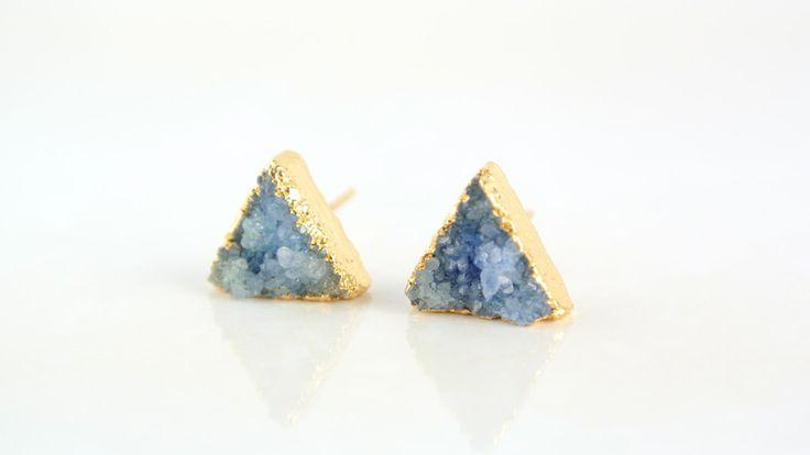 Kolczyki druzy agatu trójkąty - Misarte - Agat