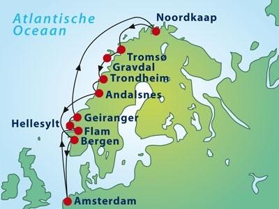 Cruise Noorse fjorden & Noordkaap