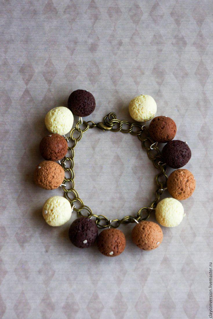 """Купить браслет """"4 шоколада"""" - коричневый, цвет шоколада, шоколадный цвет, браслет на цепочке"""