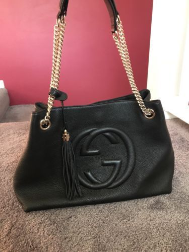 857550b1 Details about AUTHENTIC Gucci Soho Interlocking GG Chain Shoulder ...