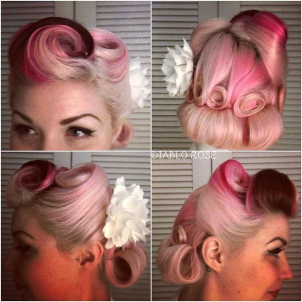 Vintage pin up hair with victory rolls and pin curls