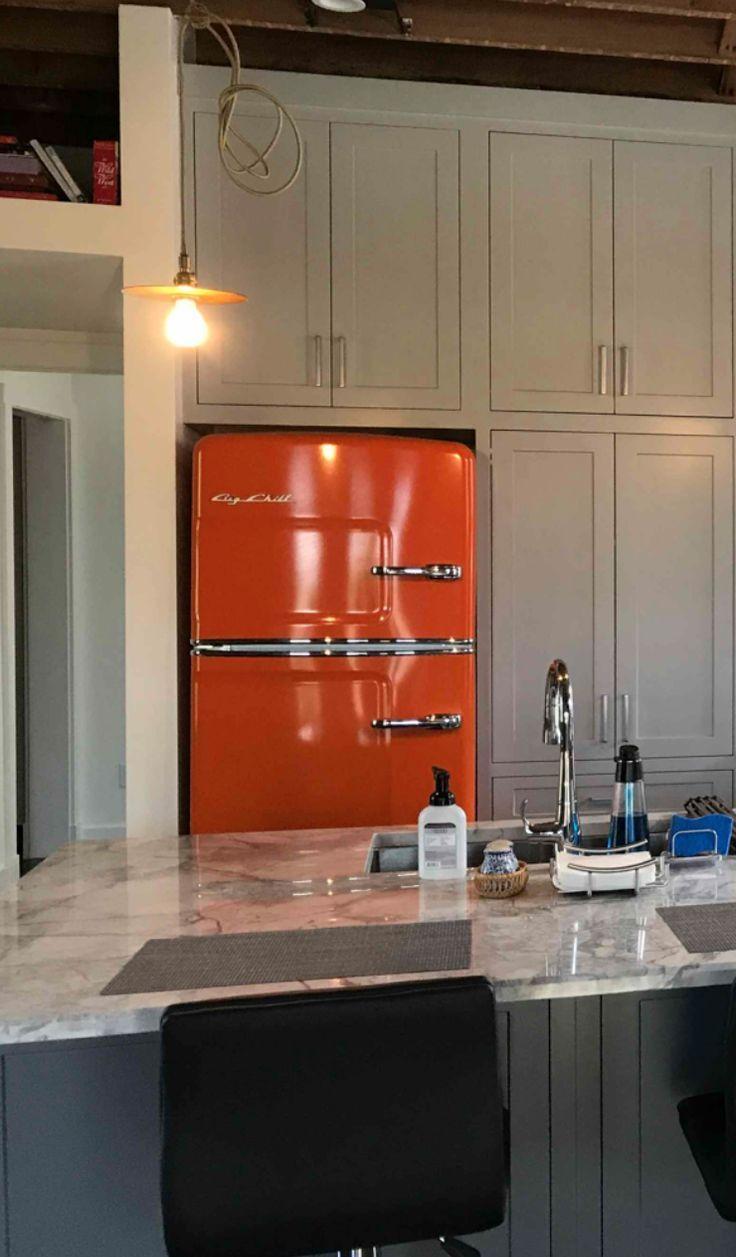 Big Chill Original Retro Refrigerator in Orange with Dove Gray Cabinets #kitchen #retro #interiordesign #kitchendesign #fridge