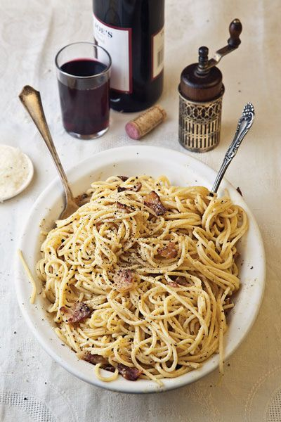 Sometimes the simple things are the most inspired, like this carbonara recipe. It's perfection, and the epitome of cooking in a pinch.