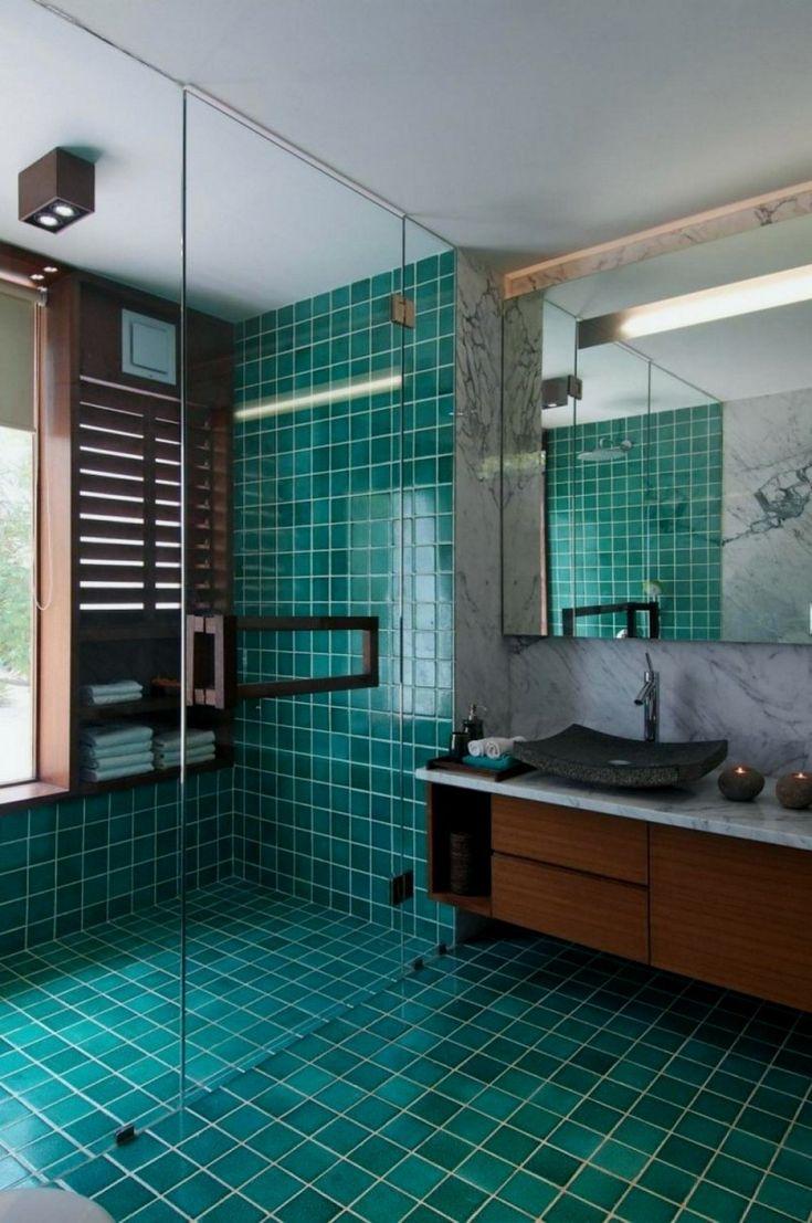30 pretty bathroom floor tile ideas 00001 in 2020 Blue
