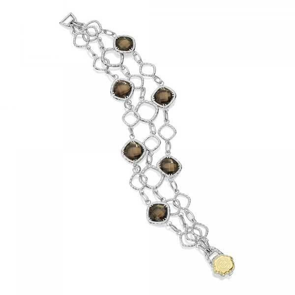 Tacori Truffle Smoky Quartz Crescent Link Bracelet ($850) ❤ liked on Polyvore featuring jewelry, bracelets, tacori jewelry, smokey quartz jewelry, tacori, engraved jewellery and engraved jewelry