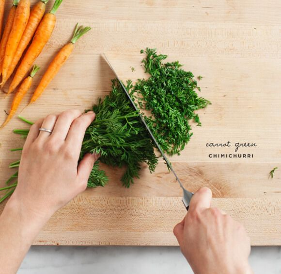 Carrot Green Chimichurri - Don't toss those beautiful carrot tops! Make chimichurri sauce with them instead - drizzle it on salads, sandwiches, meat or fish. Vegan, gluten free.