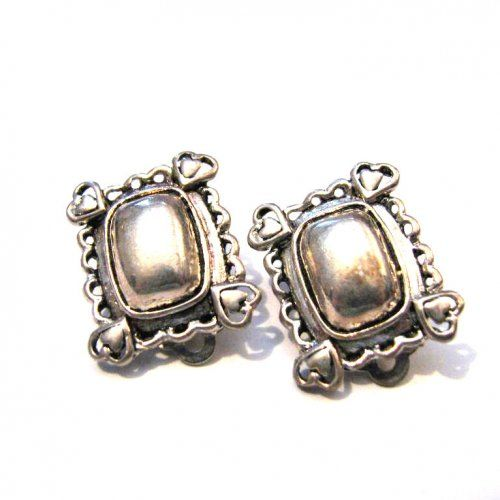 Vintage Square Silver Tone Puffy Heart Clip Earrings | ditbge - Jewelry on ArtFire