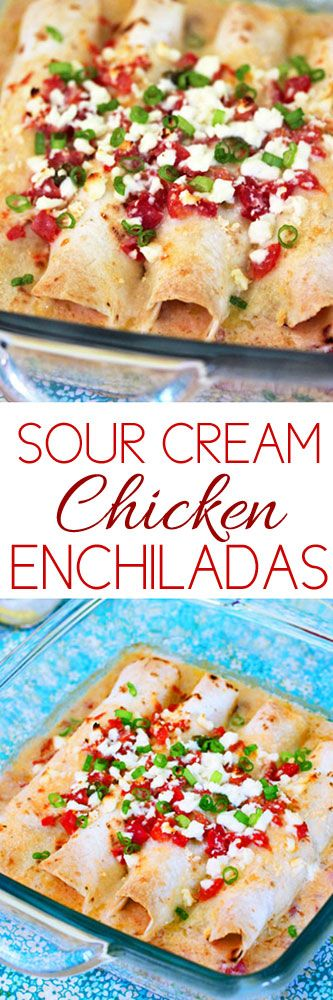 Sour Cream Chicken Enchiladas #texmex #cooking #recipes #chicken #chickenenchiladas #enchiladas #comfortfood