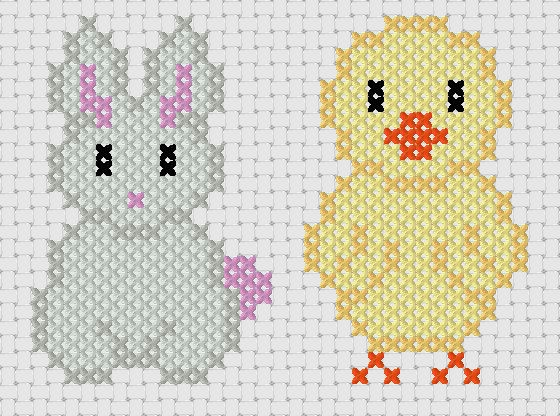 Bunny and Chick -Easter Cross Stitch Pattern designed by www.naughtscrossstitches.com