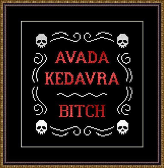 Harry Potter Funny Cross Stitch PDF Pattern Avada Kedavra - Bitch !