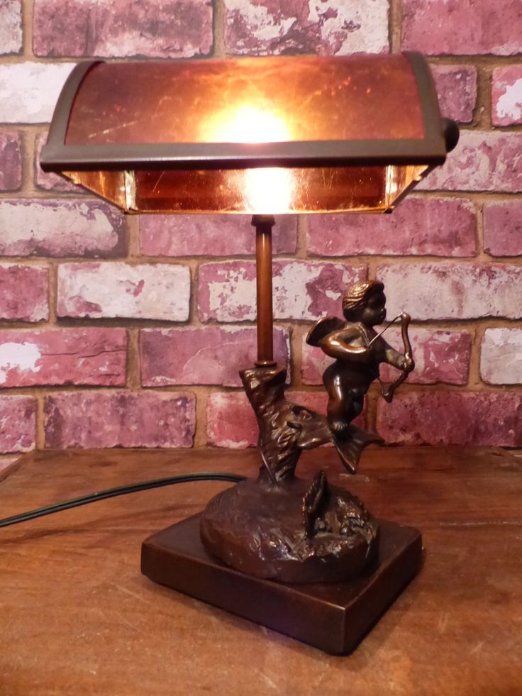 BRONZE CUPID LAMP Mica Shade - Vintage Bronze Lamp - Vintage Art Nouveau Lamp by GOLLYWOODBOULEVARD on Etsy