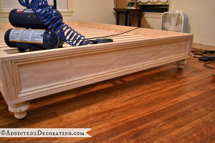 DIY Stained Wood Raised Platform Bed Frame – Finished!!