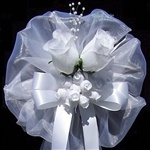 Wedding Pew Bow with Silk Roses on Sale