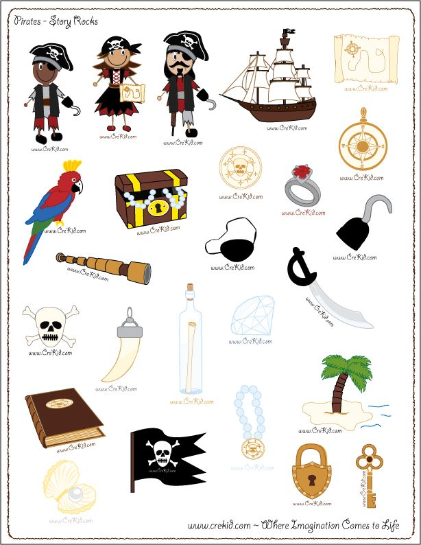 Pirates - drawing - writing - stories - story rocks - kindergarten - first grade - second grade - third grade - writing prompts - sentence starters - story prompts - story map - www.crekid.com