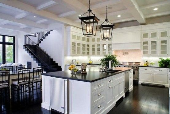 ebony floor, black stairs, contrasting interior cabinets - yes please!: Dreams Kitchens, Lights Fixtures, Dark Wood Floors, Kitchens Ideas, Kitchens Islands, House, Open Kitchens, White Cabinets, White Kitchens