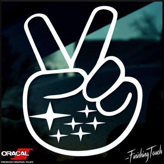 Subaru Peace sign hand wave decal sticker by FinishingTouchVinyls