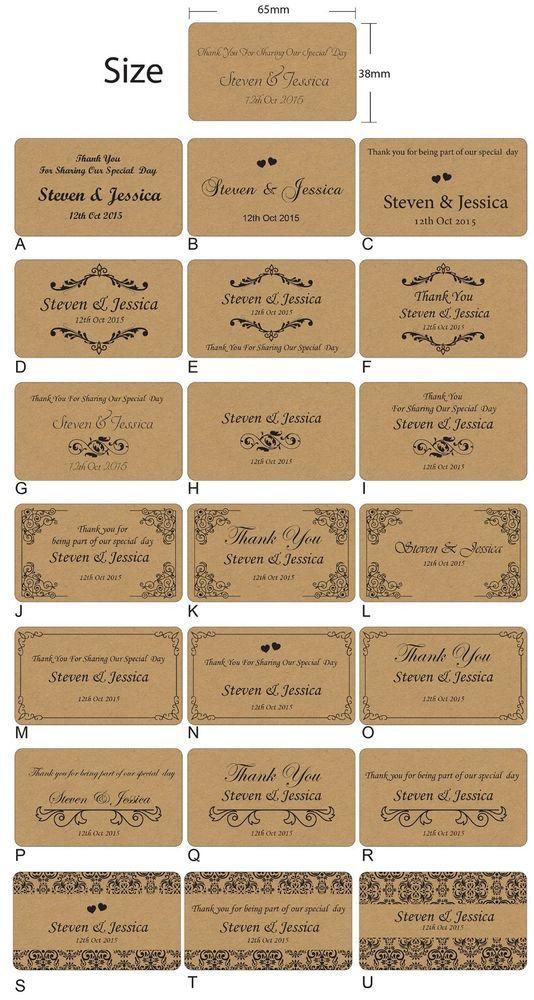 100 x Personalised Wedding Bomboniere Envelope Kraft Paper Sticker Seals Labels in Invitations, Placecards | eBay