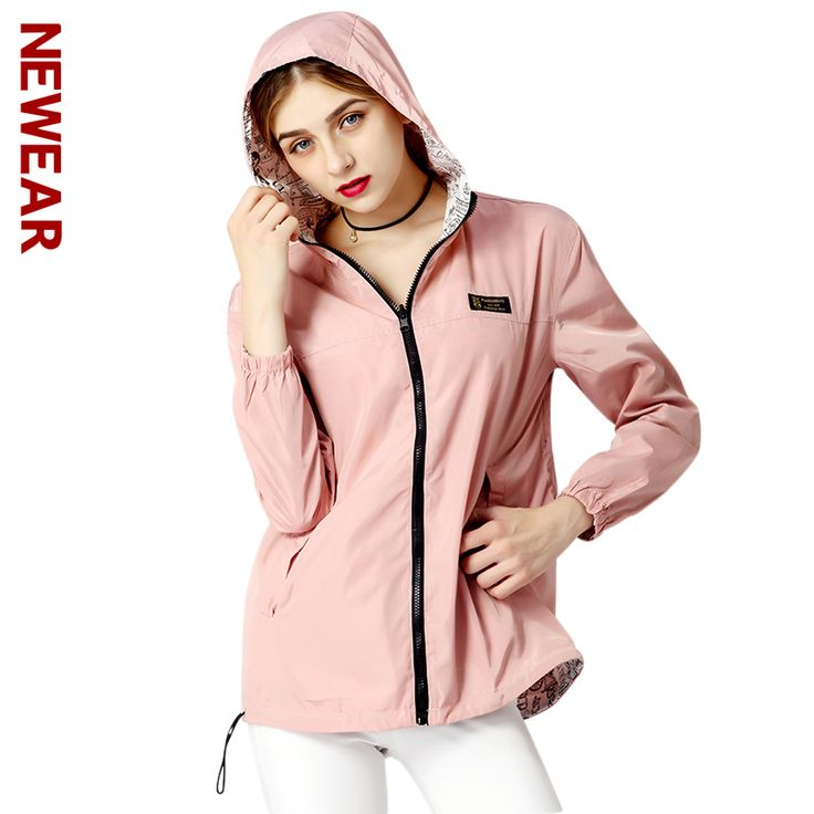 NEWEAR Fashion Women College Jacket Loose Hooded Windbreaker Casual Print Long Sleeves Coats Autumn Winter Female Bomber Jackets #Affiliate
