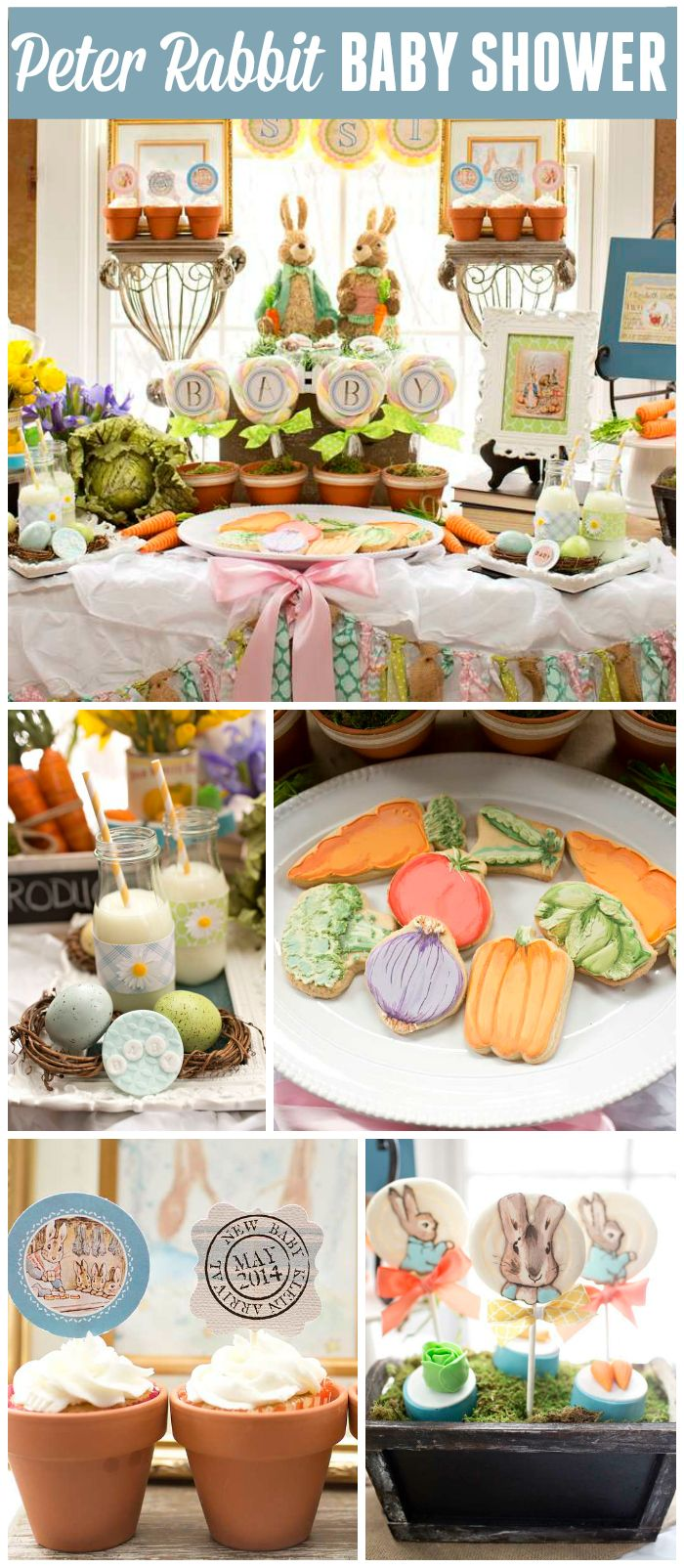 An incredible Peter Rabbit themed baby shower with cupcakes and lollipops in terra cotta pots! See more party planning ideas at CatchMyParty.com!