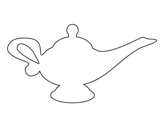 Genie lamp pattern. Use the printable outline for crafts, creating stencils, scrapbooking, and more. Free PDF template to download and print at http://patternuniverse.com/download/genie-lamp-pattern/