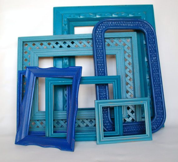 Turquoise and blue PICTURE FRAMES wall collage gallery collection.  Lollypop Figurines@etsy.com